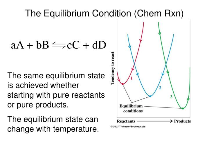 The equilibrium condition chem rxn