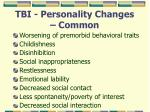 tbi personality changes common