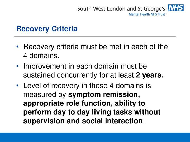 Recovery Criteria