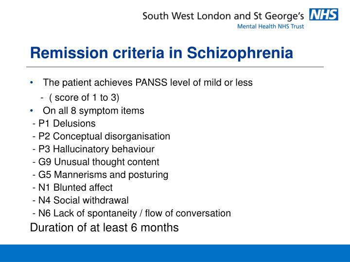 Remission criteria in Schizophrenia
