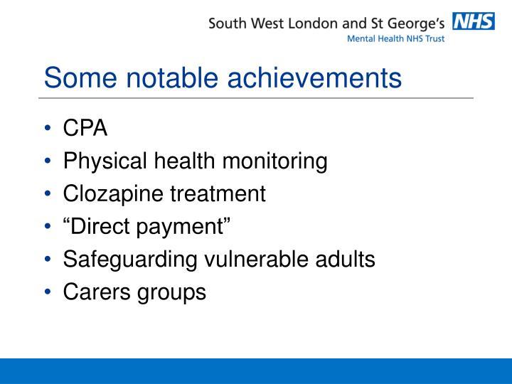 Some notable achievements