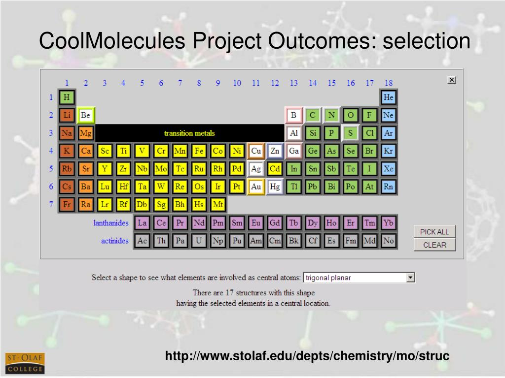 CoolMolecules Project Outcomes: selection
