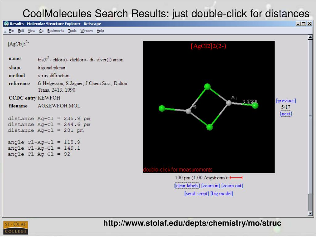 CoolMolecules Search Results: just double-click for distances