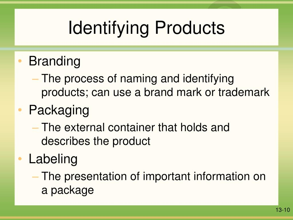 Identifying Products