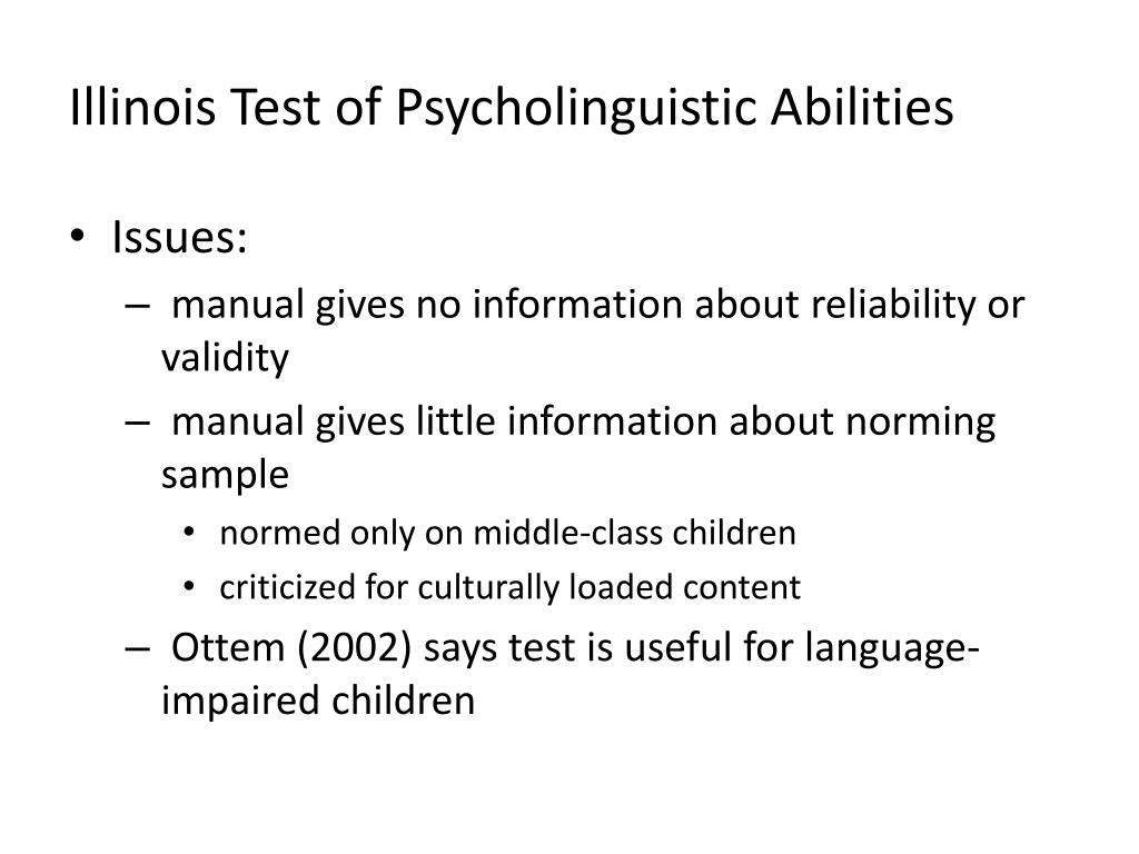 Illinois Test of Psycholinguistic Abilities