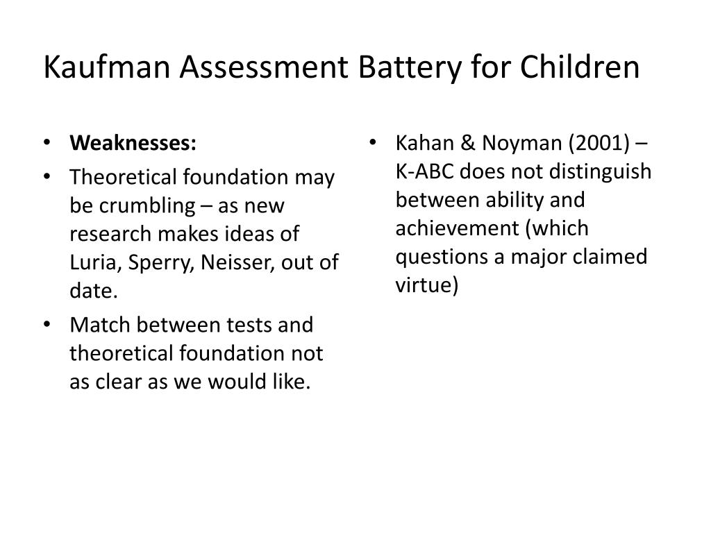 Kaufman Assessment Battery for Children