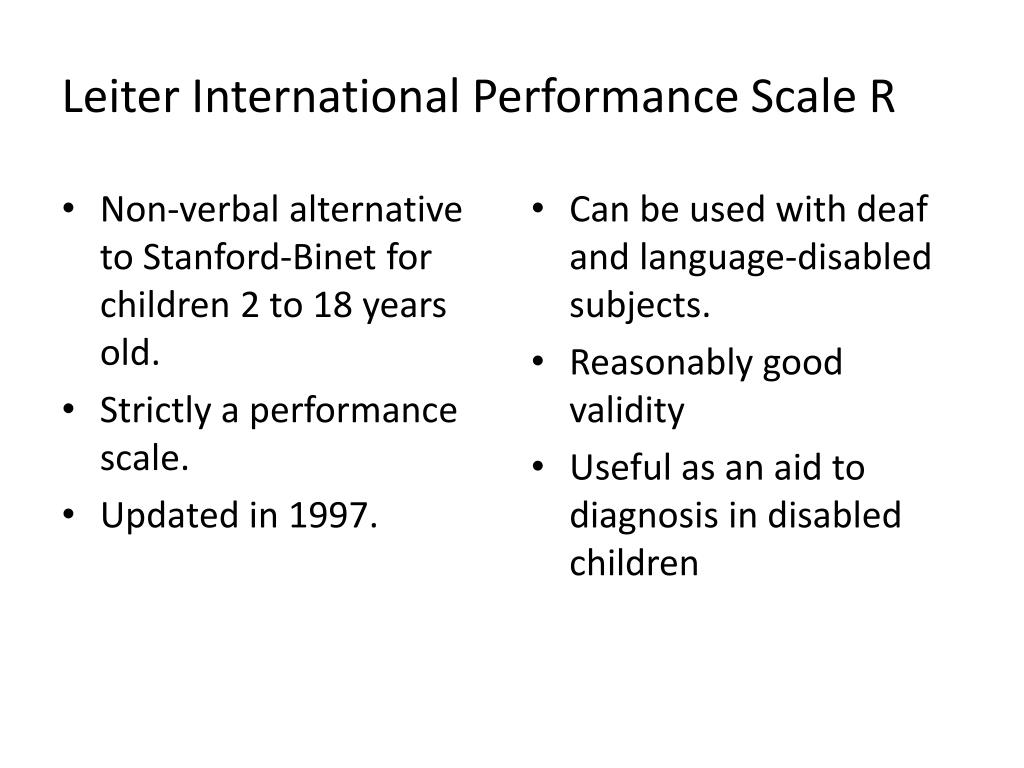 Leiter International Performance Scale R