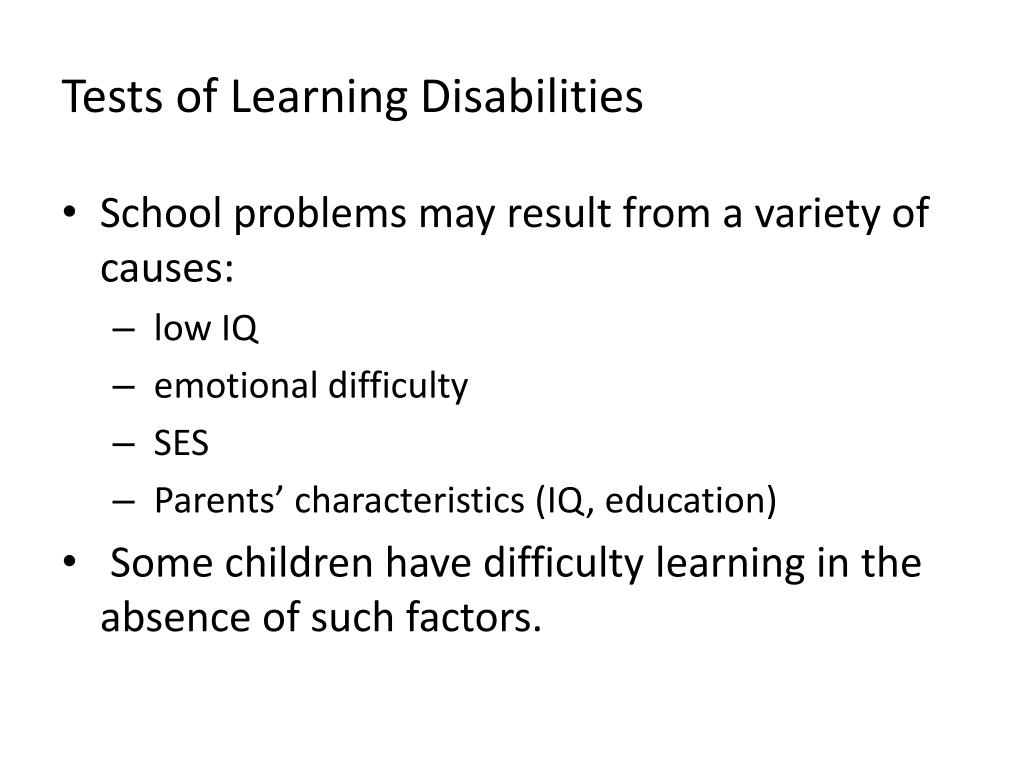 Tests of Learning Disabilities