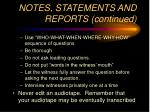 notes statements and reports continued