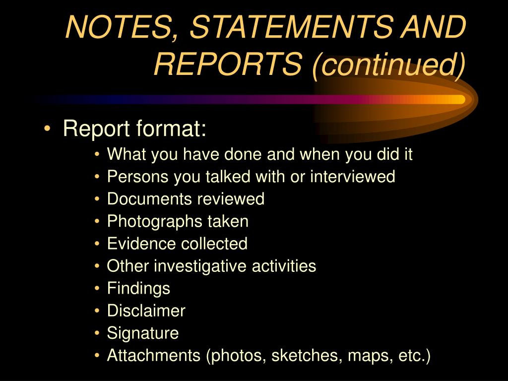 NOTES, STATEMENTS AND REPORTS (continued)