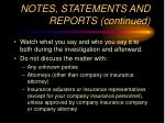 notes statements and reports continued37