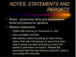notes statements and reports