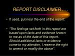 report disclaimer