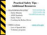 practical safety tips additional resources