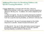 additional procedures for identifying children with specific learning disabilities 300 307