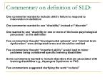 commentary on definition of sld