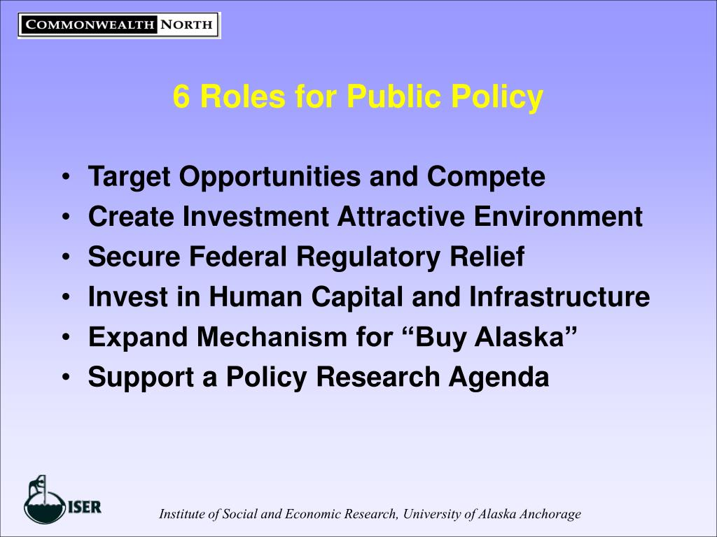 6 Roles for Public Policy