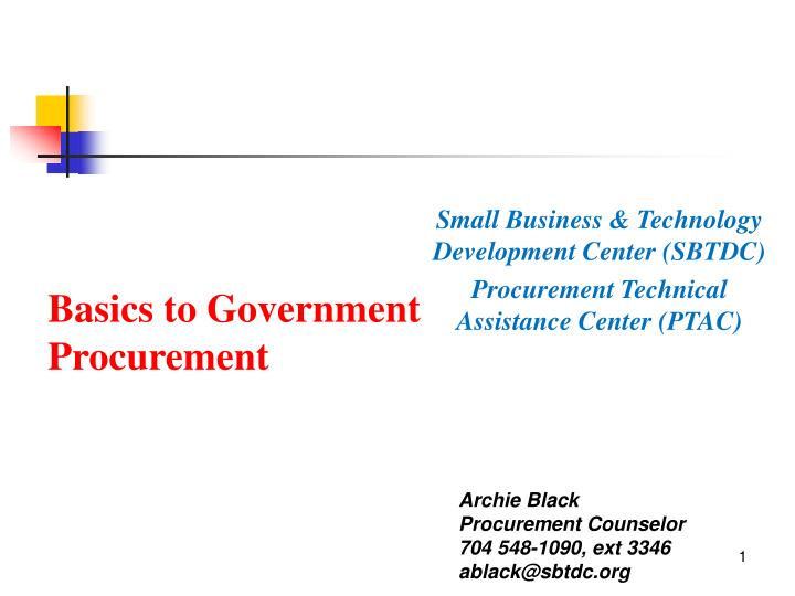 Basics to government procurement