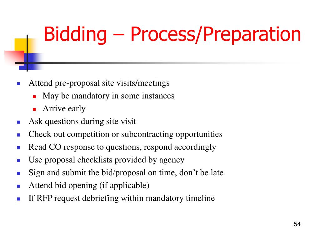 Bidding – Process/Preparation