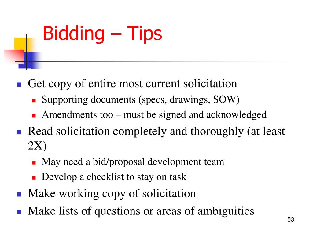 Bidding – Tips