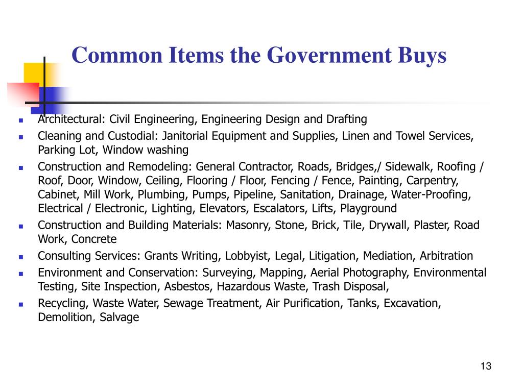 Common Items the Government Buys