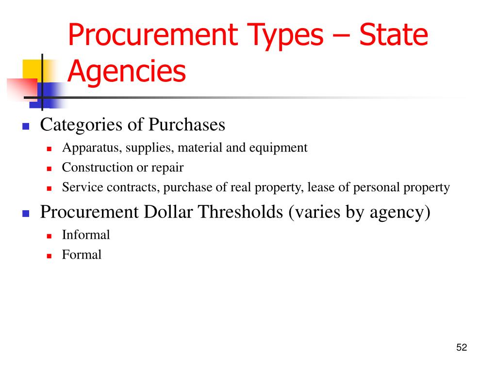 Procurement Types – State Agencies