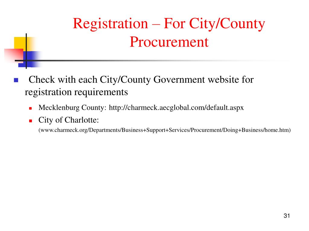 Registration – For City/County  Procurement
