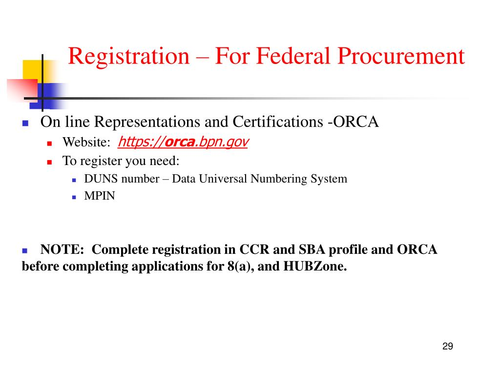 Registration – For Federal Procurement