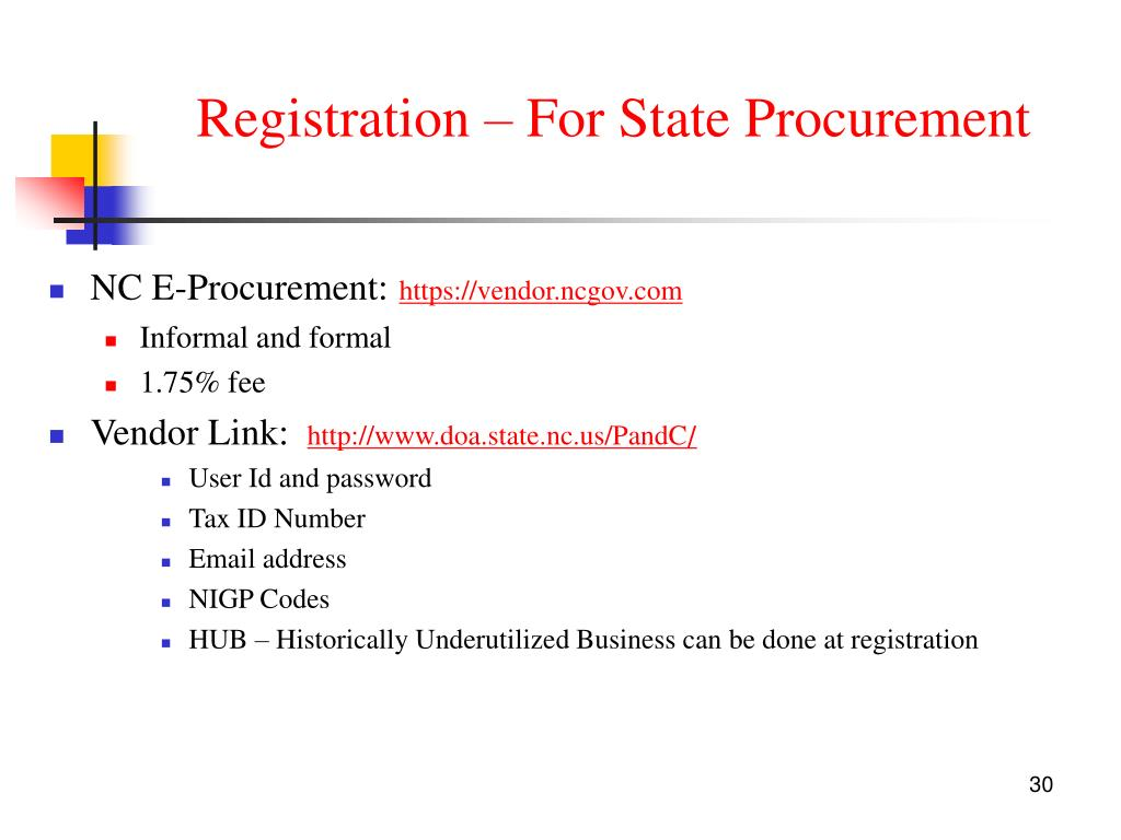 Registration – For State Procurement