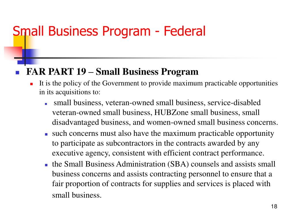 Small Business Program - Federal