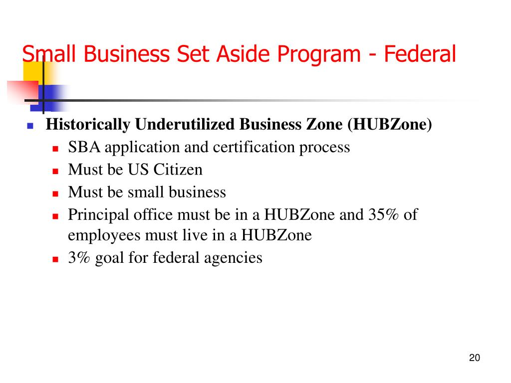 Small Business Set Aside Program - Federal