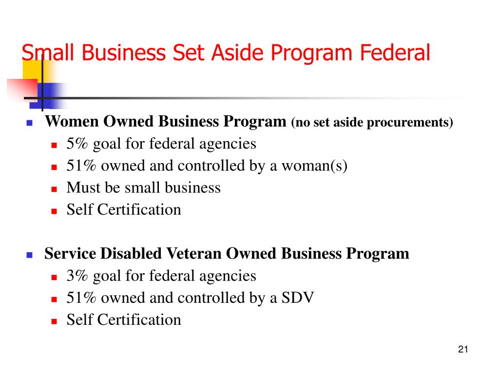 Small Business Set Aside Program Federal