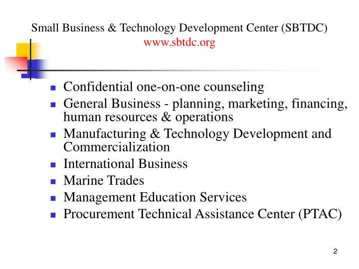 Small business technology development center sbtdc www sbtdc org