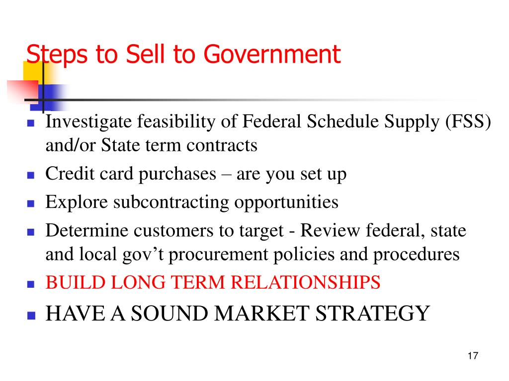 Steps to Sell to Government