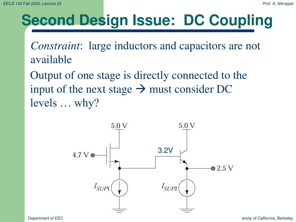 Second Design Issue:  DC Coupling