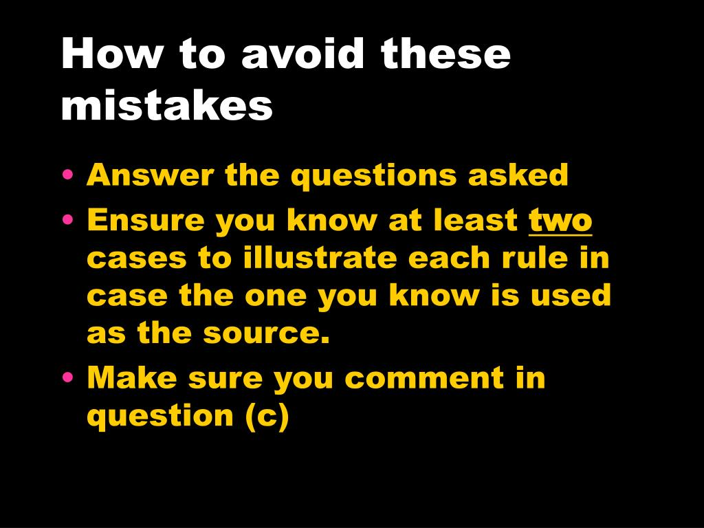 How to avoid these mistakes