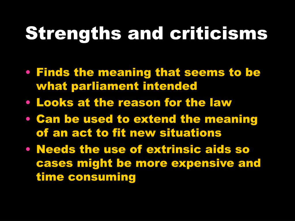 Strengths and criticisms