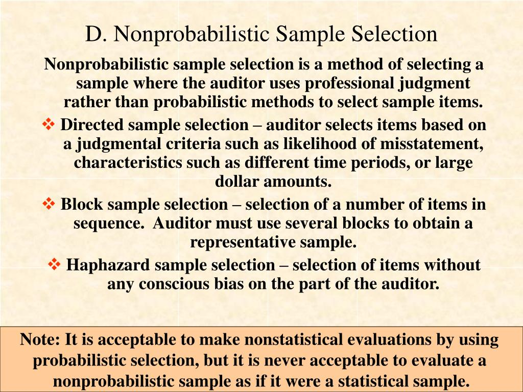 D. Nonprobabilistic Sample Selection