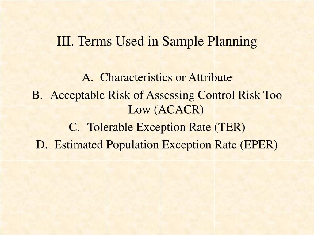 III. Terms Used in Sample Planning