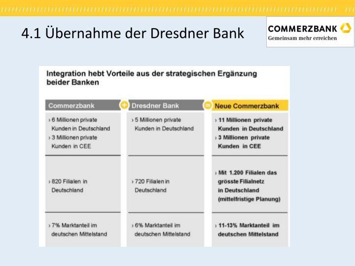 4.1 Übernahme der Dresdner Bank