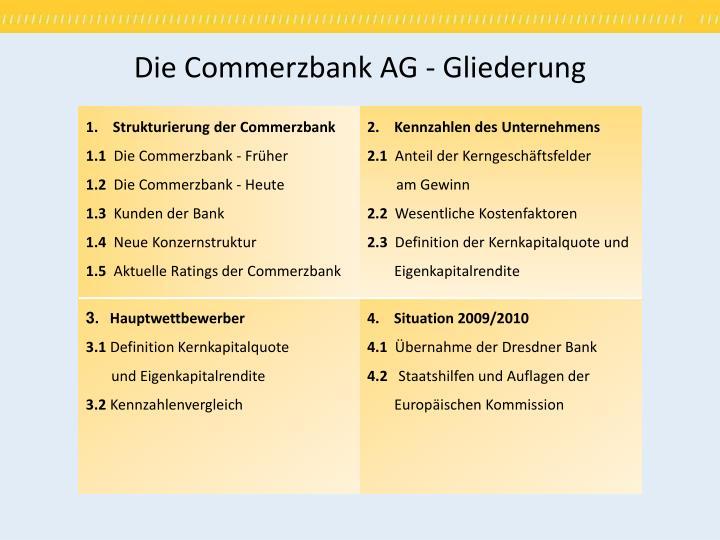 Die Commerzbank AG - Gliederung
