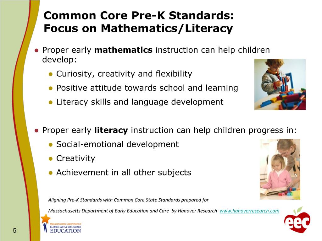Common Core Pre-K Standards: