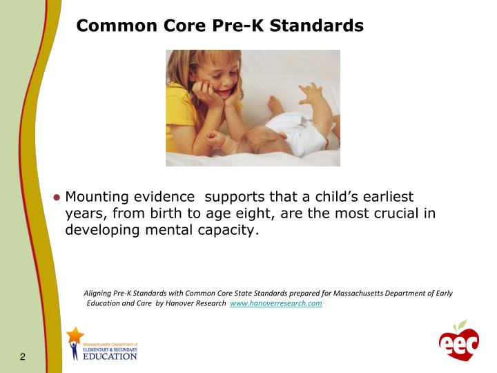 Common core pre k standards