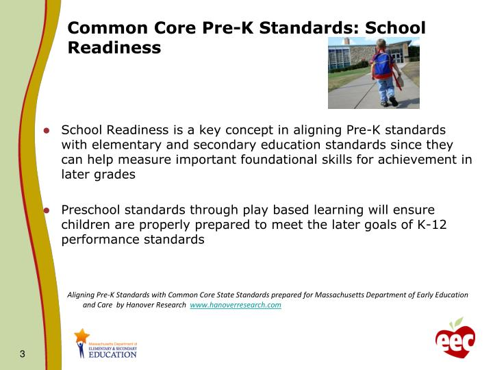 Common core pre k standards school readiness