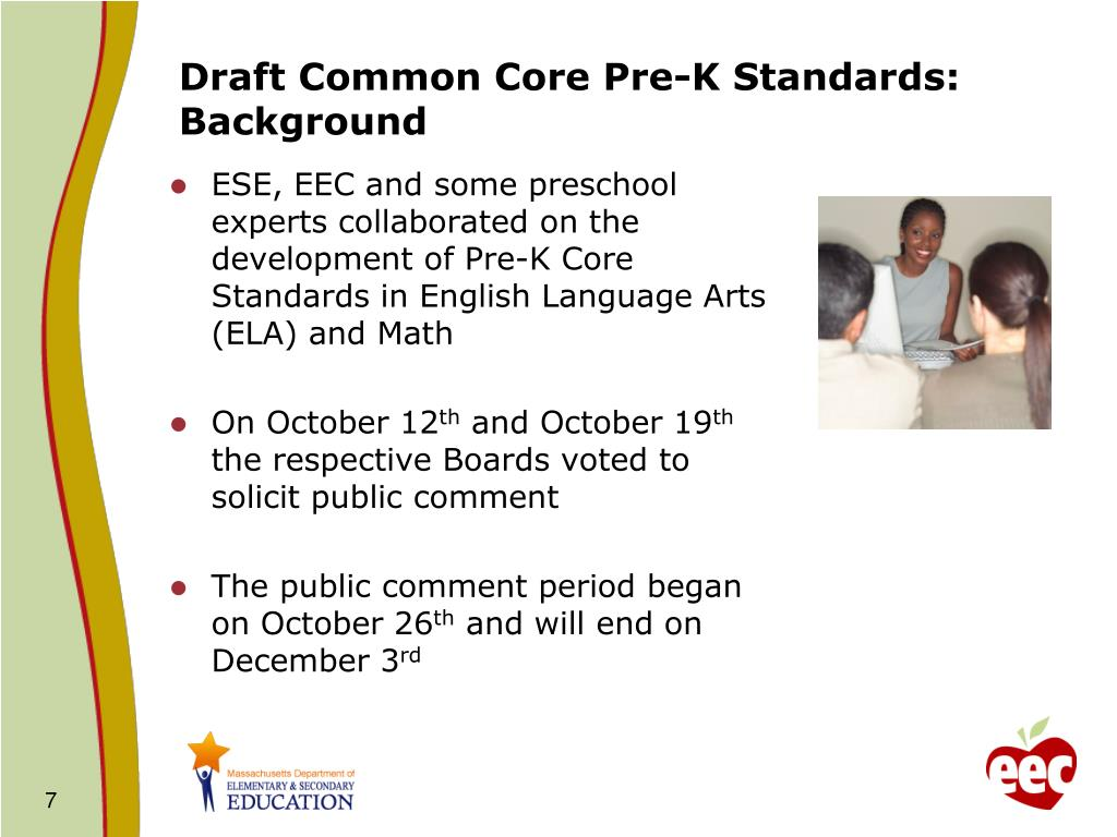 Draft Common Core Pre-K Standards: Background