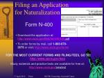 filing an application for naturalization