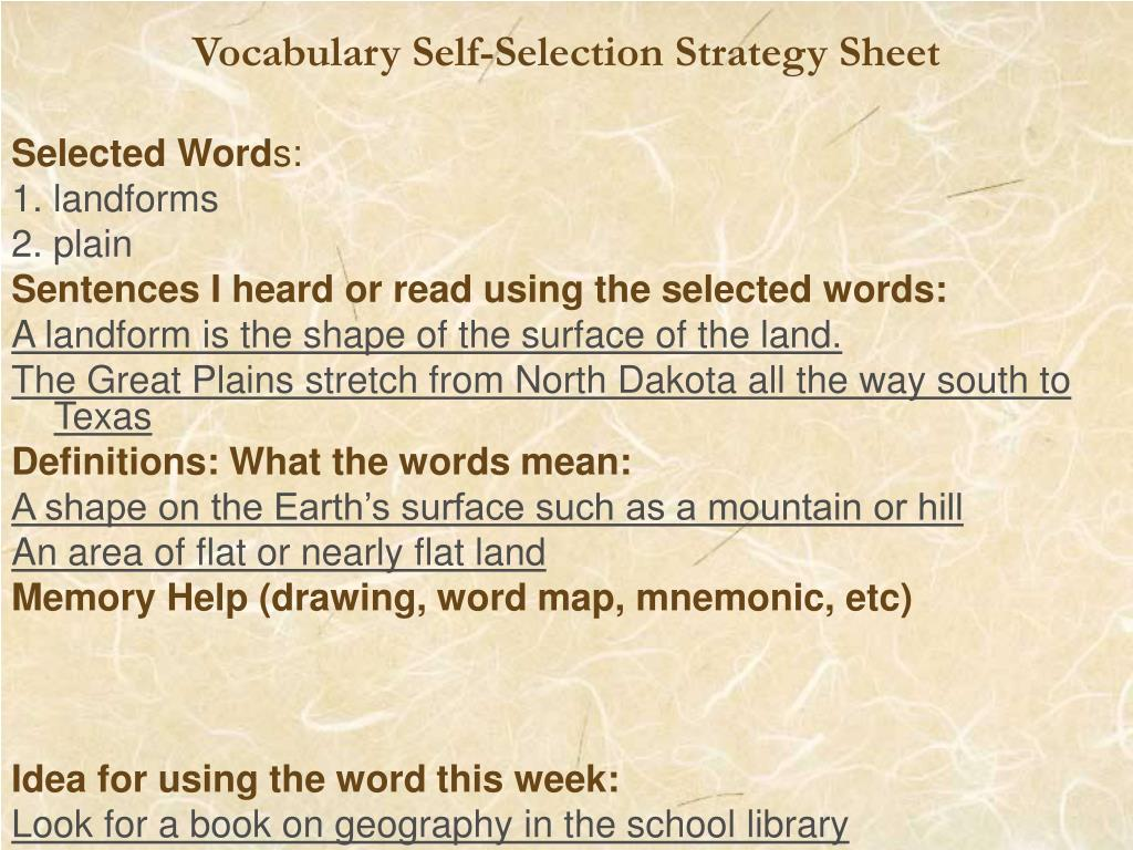 Vocabulary Self-Selection Strategy Sheet