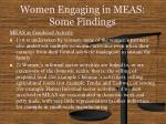 women engaging in meas some findings