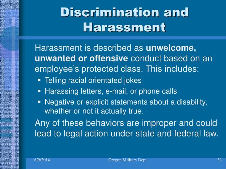 Discrimination and Harassment