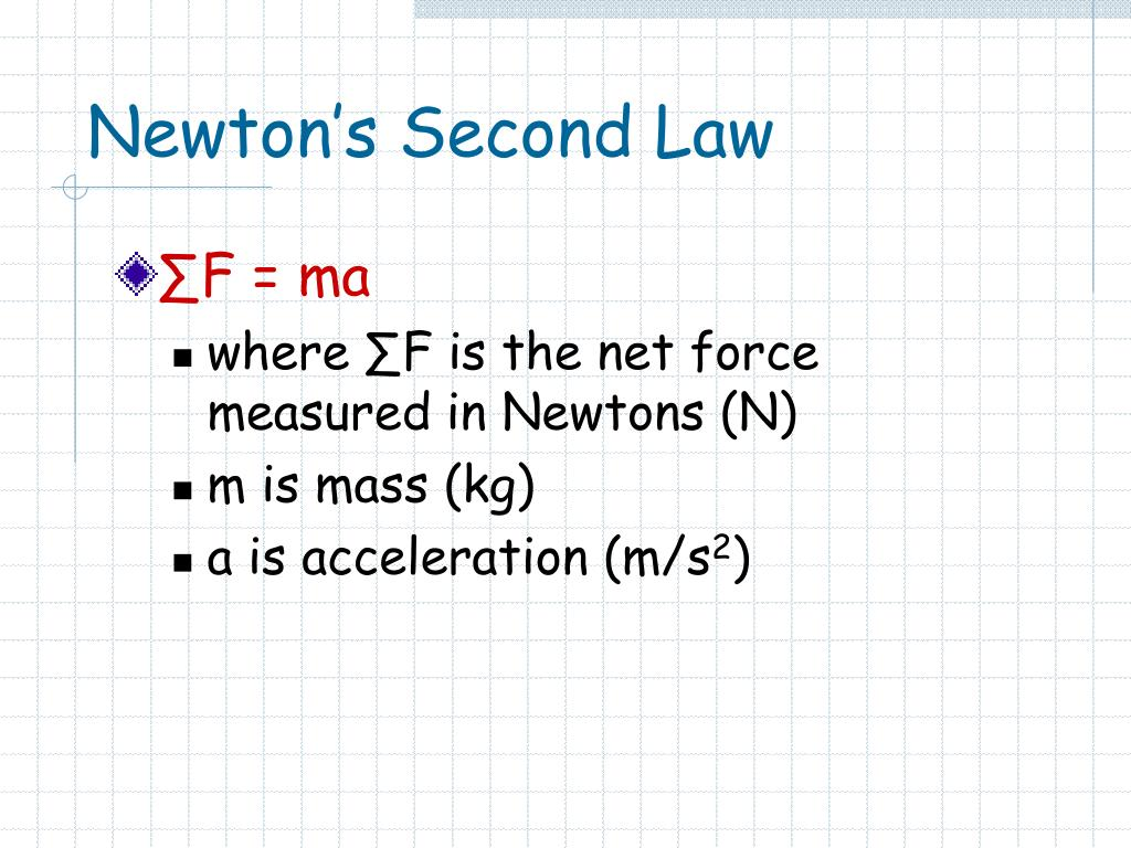 newton s second law 1 That situation is described by newton's second law of motion according to nasa , this law states, force is equal to the change in momentum per change in time for a constant mass, force equals.